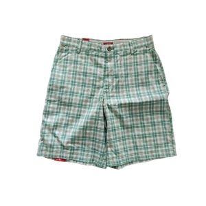 IZOD Green Plaid Flat Front Shorts 30